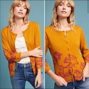 Anthro Field Flower Embroidered Dove Cardigan SM